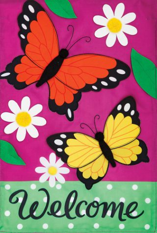 Butterfly Daisies Applique Flag | Applique Flags | Double Sided Flags | Flag