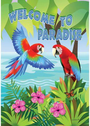 Paradise Parrots Flag | Summer Flags | Two Sided Flags | Welcome Flags