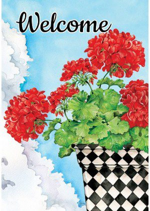 Potted Geranium Flag | Spring Flags | Two Sided Flag | Welcome Flags