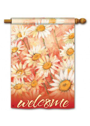 Daisy Field House Flag   Welcome Flag   Floral Flags   Double Sided Flags