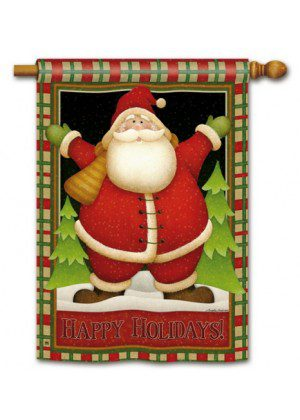 Plaid Santa House Flag | Christmas Flags | Holiday Flags | Yard Flags