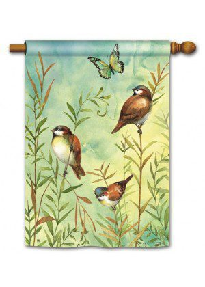 Sanctuary Sparrows House Flag | Spring Flag | Floral Flags | Bird Flags