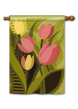 Tulips on Green House Flag | Spring Flag | Floral Flags | Yard Flags | Flags