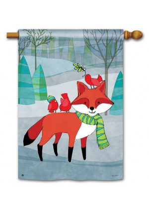 Woodland Friends House Flag | Winter Flags | Cool Flags | Animal Flags