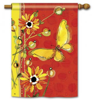 Yellow Butterfly House Flag | Spring Flag | Floral Flags | Yard Flags | Flags