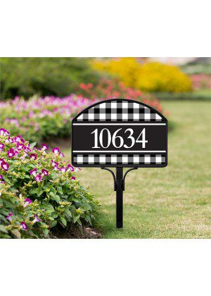 Black & White Check Yard Sign | Address Plaques | Yard Sign | Yard Decor