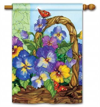 Pansy Basket House Flag | Inspirational Flags | Floral Flags | Yard Flags