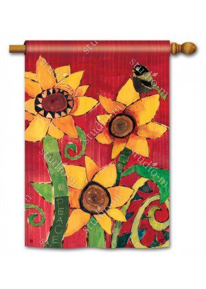 Peace Sunflower House Flag | Floral Flags | Fall Flags | Yard Flags