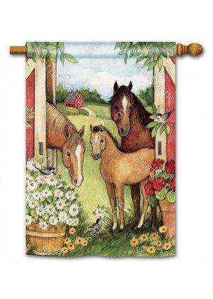 Springtime on the Farm House Flag | Spring Flag | Animal Flag | Yard Flag