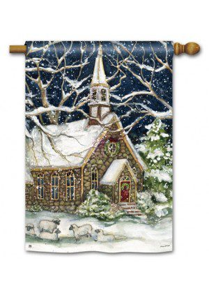 Village Church House Flag | Chirstmas Flags | Winter Flags | Yard Flags