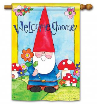 Welcome Gnome House Flag | Welcome Flags | Floral Flags | Yard Flags