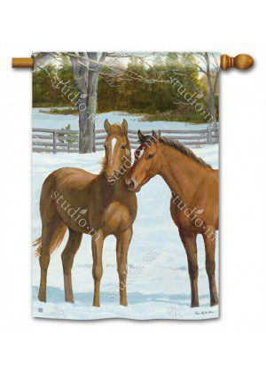Winter Horse House Flag | Farmhouse Flags | Animal Flags | Yard Flags