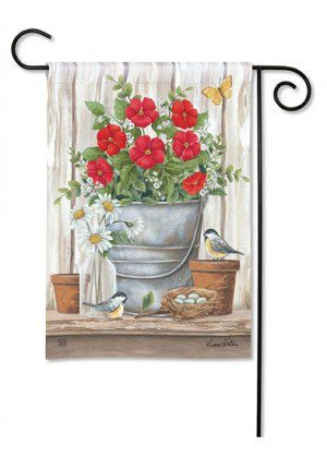 Bucket of Blooms Garden Flag | Yard Flags | Floral Flags | Garden Flags