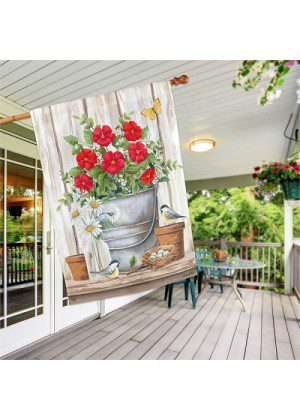 Bucket of Blooms House Flag | Garden Flags | Floral Flags | Bird Flags