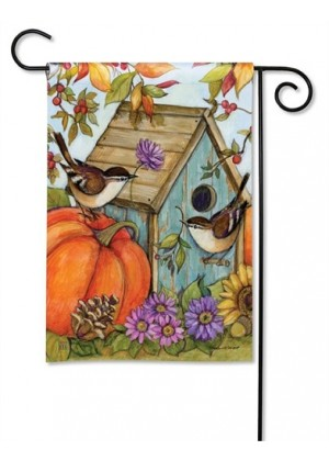 Autumn Birdhouse Garden Flag | Fall Flags | Floral Flags | Garden Flags