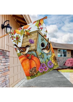 Autumn Birdhouse House Flag | Fall Flags | Floral Flags | Yard Flags