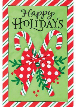 Candy Cane Flag | Applique Flags | Christmas Flags | Double Sided Flags