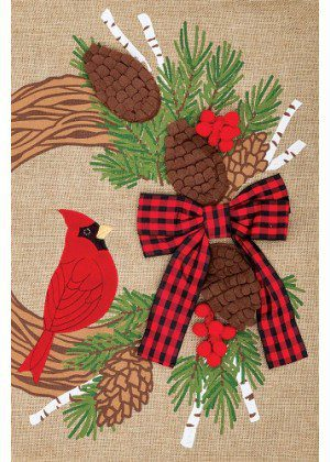 Cardinal Wreath Flag | Burlap Flags | Winter Flags | Cool Flags | Bird Flag