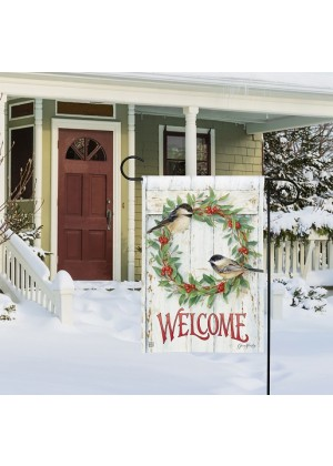 Chickadee Wreath Garden Flag | Winter Flags | Welcome Flags | Yard Flag