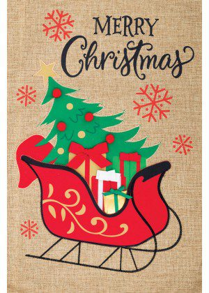 Christmas Sleigh Burlap Flag | Burlap Flags | Christmas Flags | Cool Flags