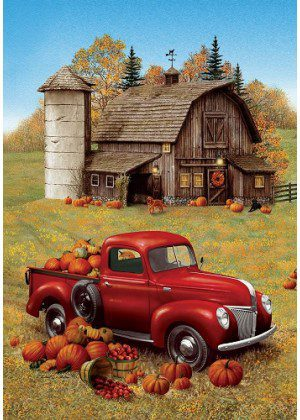 Fall Barn Truck Flag | Fall Flags | Farmhouse Flag | Cool Flags | Yard Flags