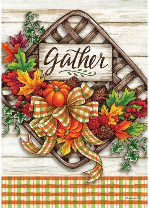 Gather Basket Flag | Fall Flags | Thanksgiving Flags | Double Sided Flags