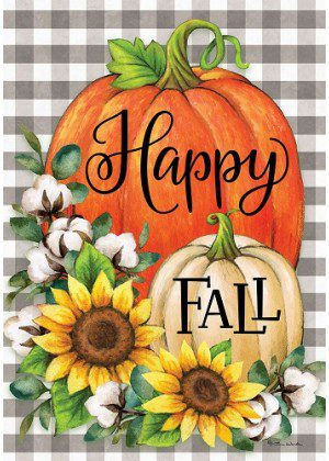 Gingham Pumpkins & Cotton Flag | Fall Flags | Double Sided Flags