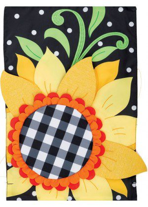 Gingham Sunflower Applique Flag | Applique Flags | Fall Flags | Floral Flag