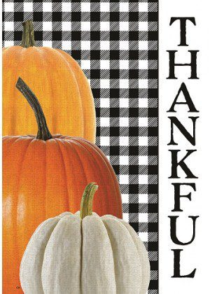 Gingham Thankful Flag | Fall Flags | Welcome Flags | Double Sided Flags