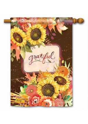 Grateful Bouquet House Flag | Thanksgiving Flags | Fall Flag | House Flag