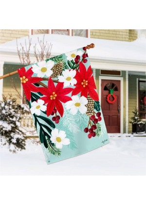Poinsettia Blooms House Flag | Winter Flags | Floral Flags | House Flags