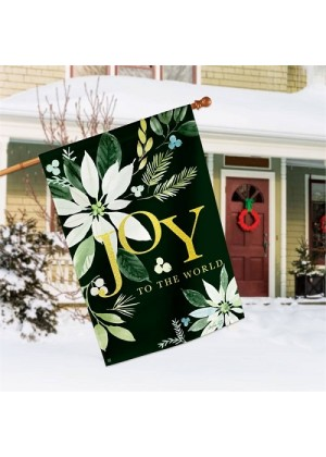 Poinsettia Joy House Flag | Winter Flags | Christmas Flags | Yard Flags