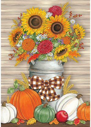 Sunflower Milk Can Flag | Fall Flags | Farmhouse Flag | Floral Flags