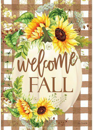 Sunflower Pumpkin Flag | Fall Flags | Welcome Flags | Double Sided Flags