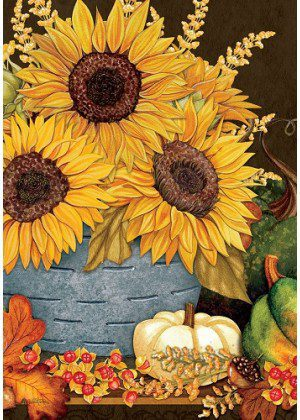 Sunflowers & Gourds Flag | Fall Flags | Farmhouse Flag | Floral Flags