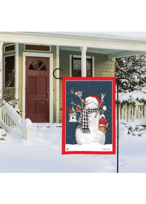 Birdhouse Snowman Garden Flag | Snowman Flags | Winter Flags