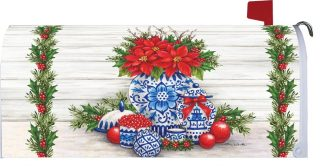 Blue & White Christmas Mailbox Cover | Mailbox Covers | Mailwraps