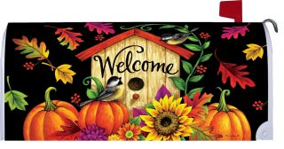 Fall Birdhouse Welcome Mailbox Cover | Mailbox Covers | MailWraps