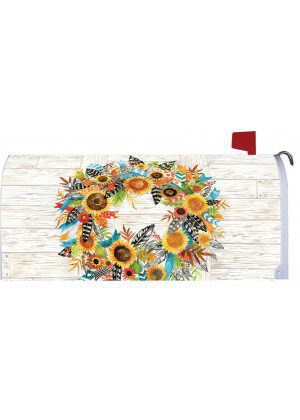 Fall Feather Wreath Mailbox Cover | Mail Box Covers | Mailwraps
