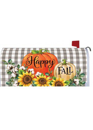 Gingham Pumpkins & Cotton Mailbox Cover | Mail Box Covers | Mailwraps