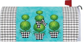 Gingham Topiary Mailbox Cover   Mailbox Cover   Mailbox Wrap   MailWrap