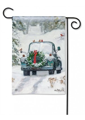 Snowy Roads Garden Flag | Christmas Flags | Winter Flags | Garden Flags