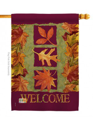 3 Fall Leaves House Flag | Fall Flags | Garden Flags | Welcome Flag | Flag
