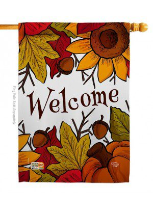 Autumn Welcome House Flag | Fall Flags | Garden Flags | Welcome Flags