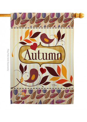 Birds Autumn House Flag | Fall Flags | House Flags | Bird Flags | Yard Flag