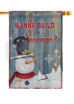 Build A Snowman House Flag | Winter Flags | Snowman House Flags
