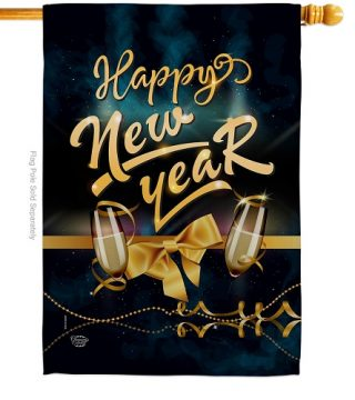 Cheerful New Year House Flag | New Year's Flags | House Flags | Flags