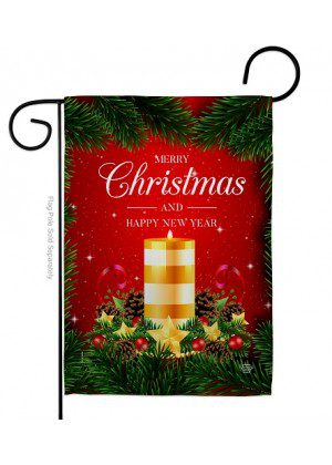 Christmas Candle Garden Flag | New Year's Flag | Garden Flag | Yard Flag