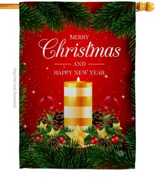 Christmas Candle House Flag | New Year's Flags | House Flags | Yard Flag