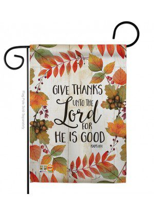 Give Thanks Unto the Lord Garden Flag | Thanksgiving Flags | Yard Flags
